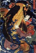 Vintage samurai warrior poster - Fish demon